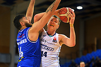 Tohi Smith-Milner tries to stop Huskies' Nicholas Barrow during the National Basketball League Final Four semifinal match between Wellington Saints and Auckland Huskies at Te Rauparaha Arena in Porirua, New Zealand on Thursday, 22 July 2021. Photo: Dave Lintott / lintottphoto.co.nz