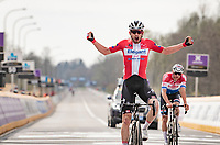 Kasper Asgreen (DEN/Deceuninck - Quick Step) wins the 105th Ronde van Vlaanderen 2021 (MEN1.UWT) in a sprint against defending champion Mathieu Van der Poel (NED/Alpecin-Fenix)<br /> <br /> 1 day race from Antwerp to Oudenaarde (BEL/264km) <br /> <br /> ©kramon