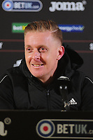 Garry Monk Manager of Birmingham City speaks in the post match press conference for the Sky Bet Championship match between Swansea City and Birmingham City at the Liberty Stadium in Swansea, Wales, UK. Tuesday 29 January 2019