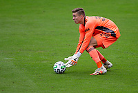 LOS ANGELES, CA - OCTOBER 25: Jonathan Klinsmann #33 goalkeeper of the Los Angeles Galaxy scoops a ball during a game between Los Angeles Galaxy and Los Angeles FC at Banc of California Stadium on October 25, 2020 in Los Angeles, California.
