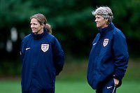 USWNT head coach Pia Sundhage and assistant coach Hege Riise watch the team during practice in Chester, PA.  The USWNT will take on China, in an international friendly at PPL Park, on October 6.