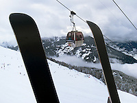 """Switzerland. Canton Valais. Cable car in Verbier at """" Les Ruinettes"""" ( 2200 meters). Verbier is a village located in the municipality of Bagnes in the Val de Bagnes. Verbier is one of the largest holiday resort and ski areas in the Swiss Alps. 4.01.2012 © 2012 Didier Ruef"""