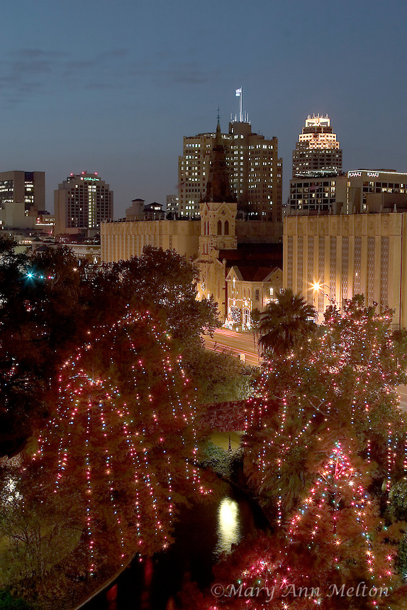 Overlooking the San Antonio RIverwalk from the Marriott Hotel, the lights draped over the bald cypress trees create a Christmas wonderland.