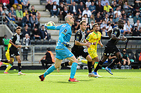 19th September  2021; Angers, Pays de la Loire, France; French League 1 football Angers versus Nantes;  Goalie  Paul BERNARDONI of Angers throws the ball back into play