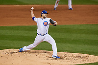 Chicago Cubs pitcher John Lackey (41) delivers a pitch in the third inning during Game 4 of the Major League Baseball World Series against the Cleveland Indians on October 29, 2016 at Wrigley Field in Chicago, Illinois.  (Mike Janes/Four Seam Images)