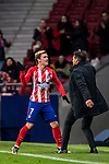 Antoine Griezmann of Atletico de Madrid celebrates his second goal with coach Diego Simeone during the La Liga 2017-18 match between Atletico de Madrid and CD Leganes at Wanda Metropolitano on February 28 2018 in Madrid, Spain. Photo by Diego Souto / Power Sport Images