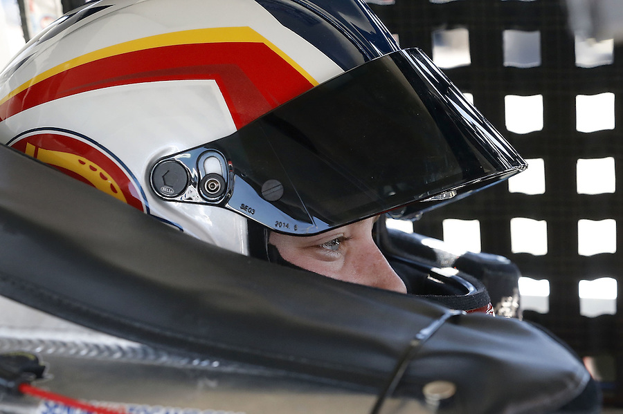 MOBILE, AL - MARCH 13: Sarah Cornett-Ching, driver of the #02 Dickies Ford, sits in her car during parctice for the NASCAR K&N Pro Series East Mobile 150 on March 13, 2016 in Mobile, Alabama.  (Photo by Jonathan Bachman/NASCAR via Getty Images)
