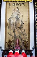 Nanjing, Jiangsu, China.  Portrait of Confucius in the Dacheng Temple Building of the Confucian Temple Complex.