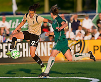 FC Gold Pride forward Christine Sinclair (12) settles the ball as St Louis Athletica Elise Weber (12) defends during a WPS match at Korte Stadium, in St. Louis, MO, May 9 2009. St. Louis Athletica won the match 1-0.