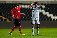 Monday 20 January 2014<br /> Pictured: James Loveridge is dejected after missing a shot<br /> Re: Swansea City U21 v Cardiff City U21 at the Liberty Stadium, Swansea Wales