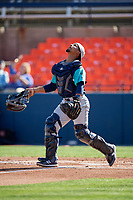 Lynchburg Hillcats catcher Angel Lopez Alvarez (20) looks for a popup during the first game of a doubleheader against the Frederick Keys on June 12, 2018 at Nymeo Field at Harry Grove Stadium in Frederick, Maryland.  Frederick defeated Lynchburg 2-1.  (Mike Janes/Four Seam Images)