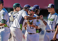 5 September 2016: The Vermont Lake Monsters celebrate winning the last game of the season against the Lowell Spinners at Centennial Field in Burlington, Vermont. The Monsters defeated the Spinners 9-5 to close out their 2016 NY Penn League season. Mandatory Credit: Ed Wolfstein Photo *** RAW (NEF) Image File Available ***