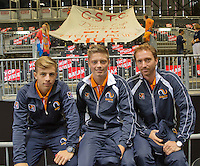 Switserland, Genève, September 18, 2015, Tennis,   Davis Cup, Switserland-Netherlands, In the background the Dutch supporters have installed themselfs, in front: ltr: Tallon Griekspoor, Tim van Rijthoven and Matwe Middelkoop<br />