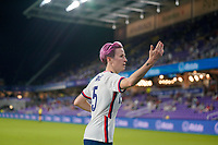 ORLANDO CITY, FL - FEBRUARY 18: Megan Rapinoe #15 of the United States looking for the ball during a game between Canada and USWNT at Exploria Stadium on February 18, 2021 in Orlando City, Florida.