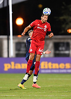 LAKE BUENA VISTA, FL - JULY 26: Omar González of Toronto FC heads the ball during a game between New York City FC and Toronto FC at ESPN Wide World of Sports on July 26, 2020 in Lake Buena Vista, Florida.