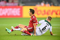 Christoph KRAMER r. (MG) in duels versus Robert LEWANDOWSKI (M), who hurts himself, action, football 1. Bundesliga, 1st matchday, Borussia Monchengladbach (MG) - FC Bayern Munich (M), on 08/13/2021 in Borussia Monchengladbach / Germany. #DFL regulations prohibit any use of photographs as image sequences and / or quasi-video # Â