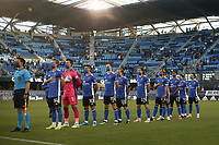 SAN JOSE, CA - MAY 12: San Jose Earthquakes  Starting Eleven before a game between Seattle Sounders FC and San Jose Earthquakes at PayPal Park on May 12, 2021 in San Jose, California.