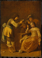 Card players with a woman smoking pipe - by Pieter Jansz Quast, 1630 - 1647