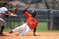 GCL Astros outfielder Daz Cameron (54) steals second as Alejandro Salazar waits for a throw during a game against the GCL Braves on July 23, 2015 at the Osceola County Stadium Complex in Kissimmee, Florida.  GCL Braves defeated GCL Astros 4-2.  (Mike Janes/Four Seam Images)