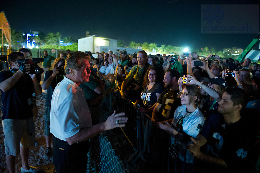 Jan 5, 2013; Former NFL quarterback Joe Theismann greets fans before Notre Dame's pep rally on South Beach. Notre Dame will be squaring off against the Alabama Crimson Tide in the 2013 BCS National Championship Monday night. Photo by Barbara Johnston/University of Notre Dame..