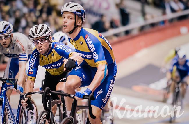 handsling for Mark Cavendish (GBR) by Iljo Keisse (BEL/Deceuninck-QuickStep)<br /> <br /> zesdaagse Gent 2019 - 2019 Ghent 6 (BEL)<br /> day 2<br /> <br /> ©kramon