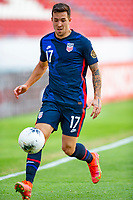 GUADALAJARA, MEXICO - MARCH 28: Aaron Herrera #17of the United States moves to the ball during a game between Honduras and USMNT U-23 at Estadio Jalisco on March 28, 2021 in Guadalajara, Mexico.