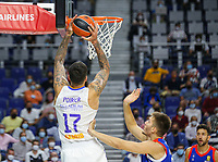30th September 2021; Madrid, Spain:  Euroleague Basketball, Real Madrid versus Anadolu Efes Istanbul;  Vincent Poirier of team Real Madrid dunks during the Matchday 1 between Real Madrid and Anadolu Efes Istanbul