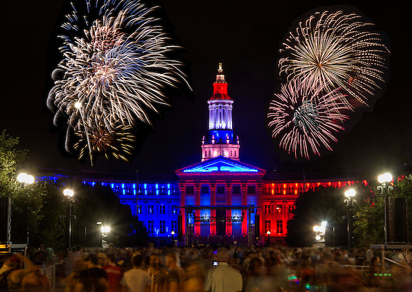 Fireworks over Denver Courthouse and Civic Center Park, Colorado. .  John offers private photo tours in Denver, Boulder and throughout Colorado. Year-round Colorado photo tours.