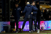 23rd February 2021; Kenilworth Road, Luton, Bedfordshire, England; English Football League Championship Football, Luton Town versus Millwall; Millwall Manager Gary Rowett and his backroom staff celebrate a late equaliser from George Evans for 1-1