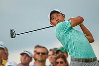 6th June 2021; Dublin, Ohio, USA; Collin Morikawa (USA) watches his tee shot on 11 during the Memorial Tournament final round at Muirfield Village Golf Club