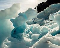 Ice formations on Franz Josef Glacier, Westland Tai Poutini National Park, UNESCO World Heritage Area, West Coast, New Zealand, NZ