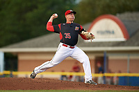 Batavia Muckdogs starting pitcher Ryan Lillie (35) delivers a pitch during a game against the Mahoning Valley Scrappers on August 18, 2017 at Dwyer Stadium in Batavia, New York.  Mahoning Valley defeated Batavia 8-2.  (Mike Janes/Four Seam Images)