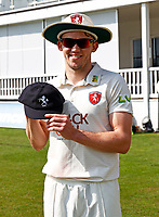 Matt Milnes receives his county cap for Kent during Kent CCC vs Worcestershire CCC, LV Insurance County Championship Division 3 Cricket at The Spitfire Ground on 5th September 2021