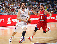 BELGRADE, SERBIA - JULY 04: Milos Teodosic (L) of Serbia in action against J.J. Barea (R) of Puerto Rico during the 2016 FIBA World Olympic Qualifying basketball Group A match between Serbia and Puerto Rico at Kombank Arena on July 04, 2016 in Belgrade, Serbia. (Photo by Srdjan Stevanovic/Getty Images)