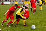 Grant 'Rhino' Ryan of Hucknall Town goes past Sam Vickers of Heanor Town. Hucknall Town v Heanor Town, 17th October 2020, at the Watnall Road Ground, East Midlands Counties League. Photo by Paul Thompson.