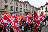 Switzerland. Canton Ticino. Bellinzona. The Grand Council of Ticino (Italian: Gran Consiglio di Ticino) is the legislature for the Swiss canton of Ticino. The 90-member council is elected by proportional representation in a single constituency every four years, and meets at the Ursoline Palace. The wave of national protest in the construction industry began on October 15 in Ticino. 3000 masons from Ticino interrupted their work to meet in Bellinzona and demand that retirement be maintained at 60. In addition to retirement at 60, the fight against wage dumping and longer working hours are at the heart of the demands. Unia and OCST unions said in a joint statement that masons have had enough after a year of blocking negotiations and blackmail. The workers and their unions have therefore decided to start a national protest. If no agreements are found between workers and constructions companies, a strike might occur in the near future. 15.10.2018 © 2018 Didier Ruef