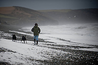 Tuesday 07 January 2014<br /> Pictured:A man walk his dog along Newgale beach<br /> Re:  Newgale, Pembrokeshire after has been battered by the wind and High Tides over the last few days