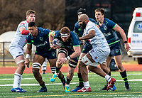 WASHINGTON, DC - FEBRUARY 16: Brad Tucker #4 of the Seattle Seawolves breaks through the Old Glory defense during a game between Seattle Seawolves and Old Glory DC at Cardinal Stadium on February 16, 2020 in Washington, DC.