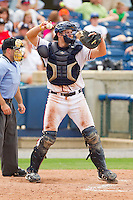 Catcher Jace Whitmer #39 of the Rome Braves throws the ball back to his pitcher during the game against the Hagerstown Suns at State Mutual Stadium on May 1, 2011 in Rome, Georgia.   Photo by Brian Westerholt / Four Seam Images