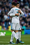 Cristiano Ronaldo of Real Madrid celebrates with teammate Carlos Henrique Casemiro during the La Liga 2017-18 match between Real Madrid and RC Deportivo La Coruna at Santiago Bernabeu Stadium on January 21 2018 in Madrid, Spain. Photo by Diego Gonzalez / Power Sport Images