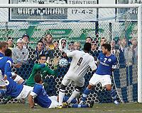 Last man, Creighton University goalkeeper Jeff Gal (30) makes the save..NCAA Tournament. Creighton University (blue) defeated University of Connecticut (white), 1-0, at Morrone Stadium at University of Connecticut on December 2, 2012.
