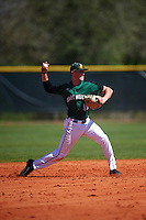 Dartmouth Big Green shortstop Nate Ostmo (19) throws to first base during a game against the Eastern Michigan Eagles on February 25, 2017 at North Charlotte Regional Park in Port Charlotte, Florida.  Dartmouth defeated Eastern Michigan 8-4.  (Mike Janes/Four Seam Images)