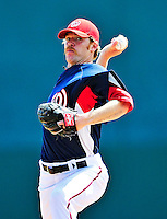 8 March 2010: Washington Nationals' pitcher Collin Balester on the mound during a Spring Training game against the Florida Marlins at Space Coast Stadium in Viera, Florida. The Marlins defeated the Nationals 12-2 in Grapefruit League action. Mandatory Credit: Ed Wolfstein Photo