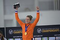 SPEEDSKATING: 16-02-2020, Utah Olympic Oval, ISU World Single Distances Speed Skating Championship, Podium 1500m Ladies, Ireen Wüst (NED), World champion, ©photo Martin de Jong