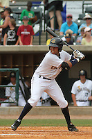 Charleston Riverdogs shortstop Cito Culver #2 at bat during a game against the Savannah Sand Gnats at Joseph P. Riley Jr. Park on May 16, 2012 in Charleston, South Carolina. Charleston defeated Savannah by the score of 14-5. (Robert Gurganus/Four Seam Images)