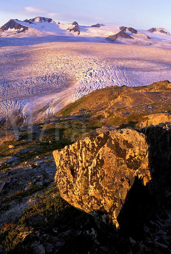 Sunrise on Harding Icefield.  Kenai Fjords National Park, Alaska.