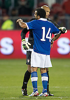 03 June 2012: US Men's National Soccer Team goalkeeper Tim Howard #1and Canadian Men's National Soccer Team forward Dwayne De Rosario #14 shake hands and embrace at the conclusion of an international friendly  match between the United States Men's National Soccer Team and the Canadian Men's National Soccer Team at BMO Field in Toronto..The game ended in 0-0 draw...