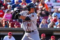 Quad Cities River Bandits first baseman Taylor Jones (46) at the plate during a Midwest League game against the Wisconsin Timber Rattlers on April 8, 2017 at Fox Cities Stadium in Appleton, Wisconsin.  Wisconsin defeated Quad Cities 3-2. (Brad Krause/Four Seam Images)