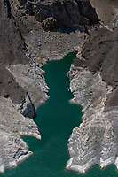 aerial photograph of the low lake levels at The Narrows, Lake Mead, Arizona and Nevada