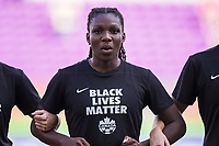 ORLANDO, FL - FEBRUARY 24: Deanne Rose #6 of the CANWNT kneels for the national anthem before a game between Brazil and Canada at Exploria Stadium on February 24, 2021 in Orlando, Florida.
